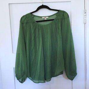 Ya Los Angelos Green Pleated Long Sleeve Top